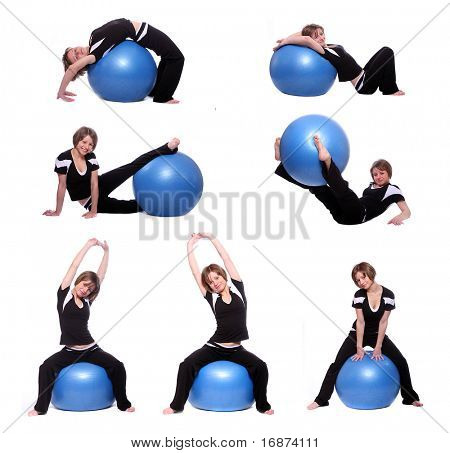 Shots of a sporty young woman in different position with blue pilates ball on white background.