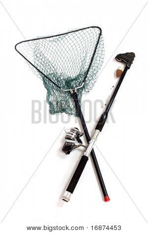 Fishing rod with reels and landing net.