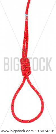Hanging noose of red rope on white background.