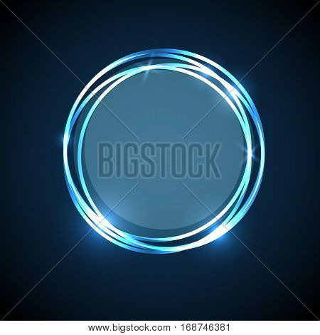 Abstract background with blue neon circles banner, stock vector