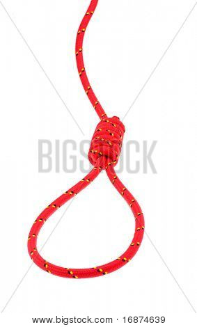 Hanging noose of red rope on white background. Conceptual image - business failure metaphor.