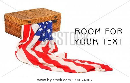American flag in retro suitcase. Conceptual image. Immigration or emigration metaphor. Great for Independence Day brochures and advertising.