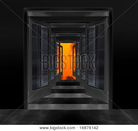 Door to hell. Conceptual image. Failure metaphor.