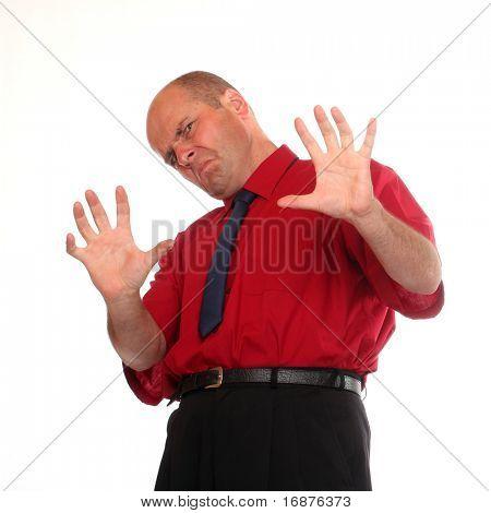 Frustrated senior businessman on white background