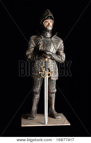 Gothic knight in armor with sword - antiquity unauthorized homemade wooden sculpture