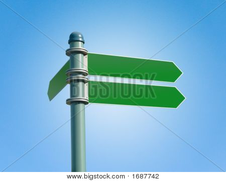 Blank Street Sign With 3 Signs