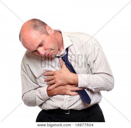 Worried businessman suffering a sickness.