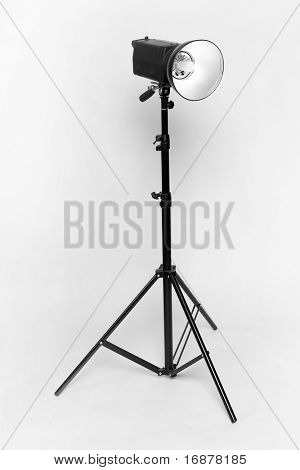 Studio flash on light grey background