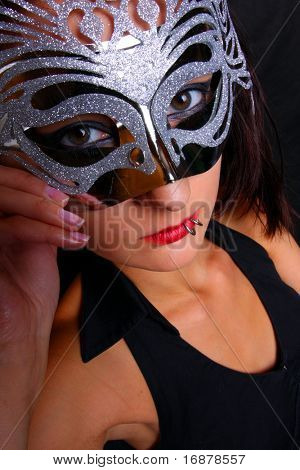Goth woman with silver mask (mask is unauthorized handmade product)