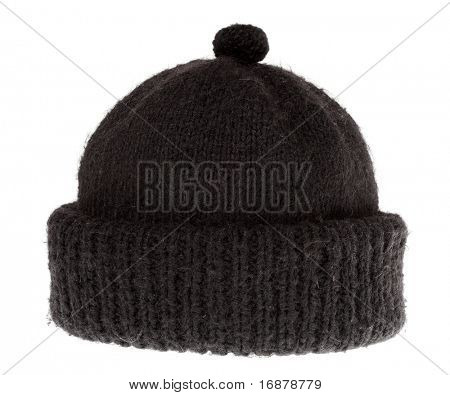 Woolen knit hat for cold weather isolated on white background.