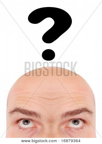 Men's head closeup and question-mark. Conceptual image - education metaphor.