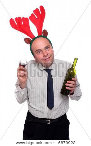 Drunken businessman with reindeer attire holding vine bottle. Funny image great for christmas and new year greeting card.