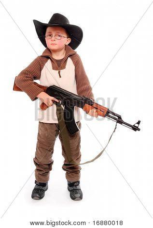 The young american ranger with assault rifle on a white background.