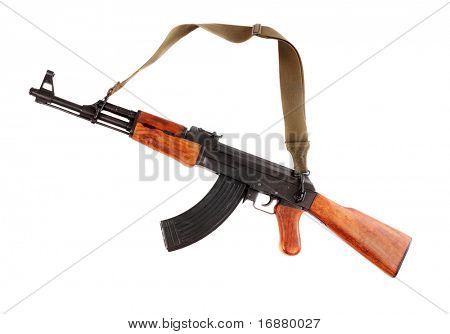 The assault rifle traditional weapon for terrorist guerrilla isolated on a white background.