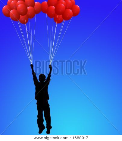Boy With Red Balloons On Blue Sky