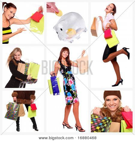 Collage of shopping young women, discount metaphor.