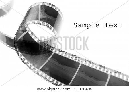 Old negative film strip with easy removable text.