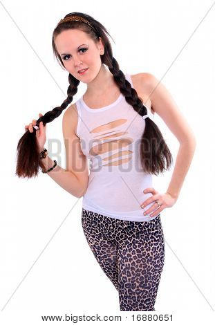 Young woman with beautiful long braids.