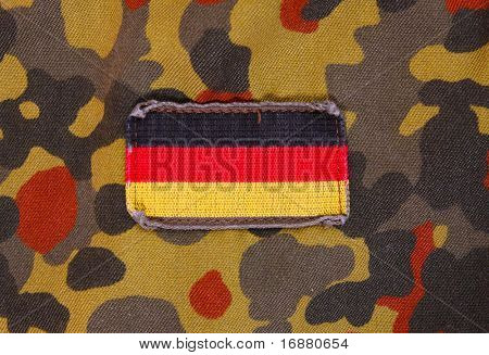 Flag patch on german soldier uniform.