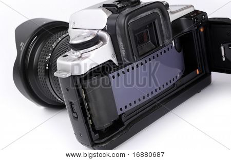 The 35mm slr camera with opened back side.