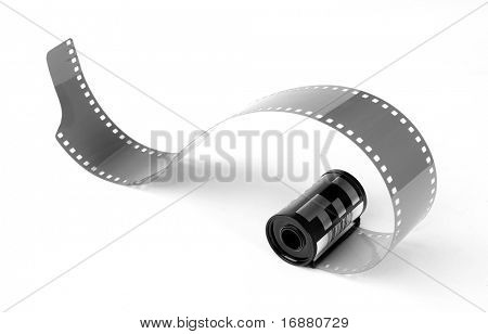 Old 35 mm film in cartridge on a white background.