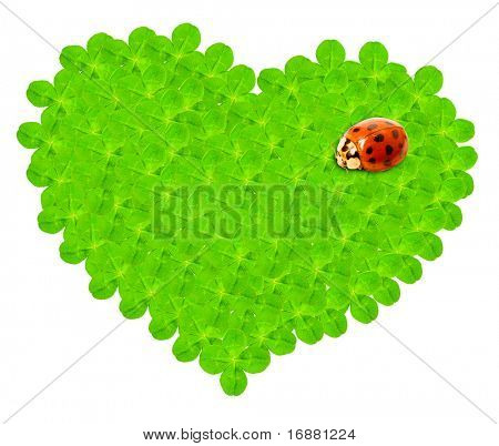 Green hearth with a ladybug.