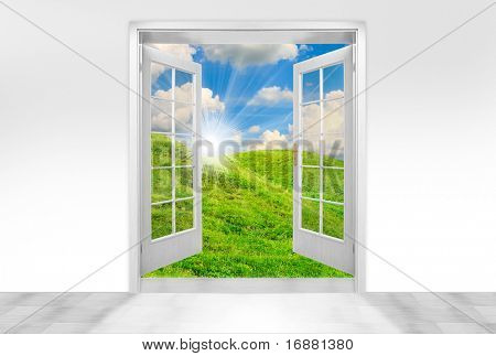 Opened door to early morning in green meadows - conceptual image - business metaphor.
