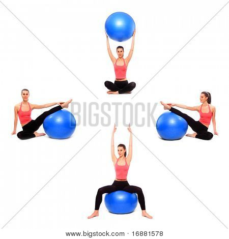 Beautiful sporty young woman with blue ball in different position.
