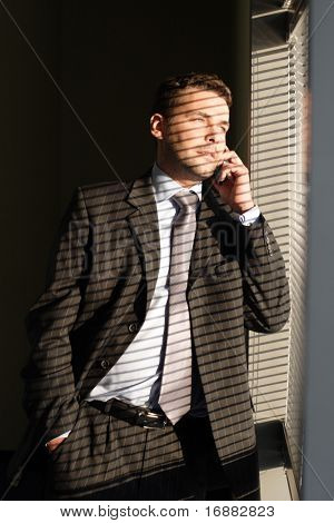 Handsome  calling on phone secret man looking through window blinds