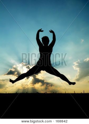 Woman Jumping Into The Air