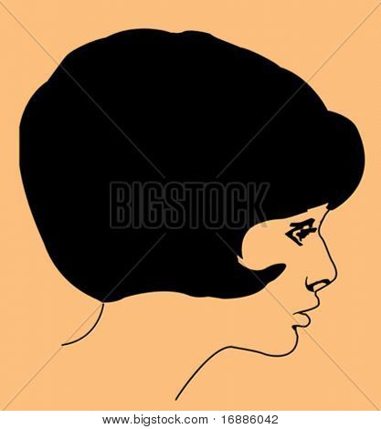 vector portrait of the young girl