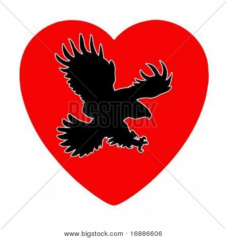 vector illustration of the ravenous bird inwardly heart