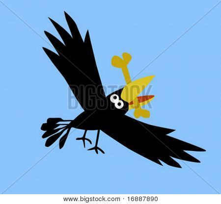 vector drawing ravens on blue background