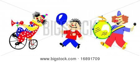 vector silhouette clown on white background