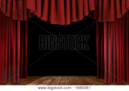 Theater Drapes With Wood Floor