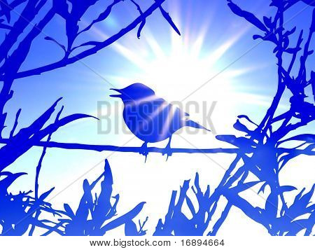 bird on branch amongst sheet