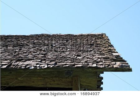 roof of the old wooden building