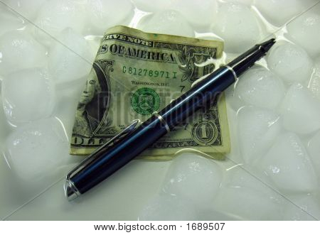 Melting Money Ice And A Pen