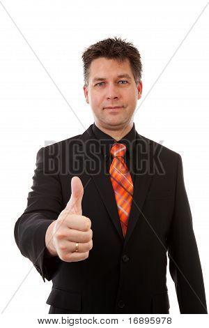 Businessman Is Pleased, Thumbs Up