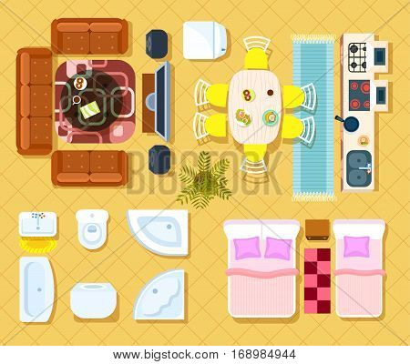 Living Room, Bedroom, Kitchen And Bathroom Furniture Design Elements.  Apartment Interior View From Above. Cartoon Apartment Interior Set. Part 84