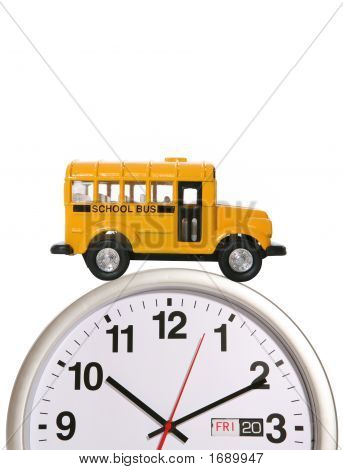 School Bus On Clock