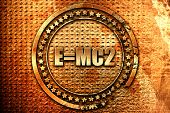 e = mc2, 3D rendering, grunge metal stamp poster