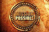 mission possible, 3D rendering, grunge metal stamp poster