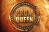 prom queen, 3D rendering, grunge metal stamp poster