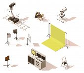 Vector isometric low poly movie and tv video equipment set. Includes video cameras, camera dolly, li poster