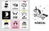 Scandinavian style, simple design, clean and cute black, white illustrations, collection of cards, p poster