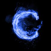 Fire letter C of burning blue flame. Flaming burn font or bonfire alphabet text with sizzling smoke  poster
