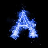 Fire letter A of burning blue flame. Flaming burn font or bonfire alphabet text with sizzling smoke  poster