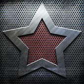 stock photo of iron star  - metal star background template  - JPG