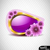 stock photo of violet flower  - Abstract speech bubble with spring violet flower - JPG